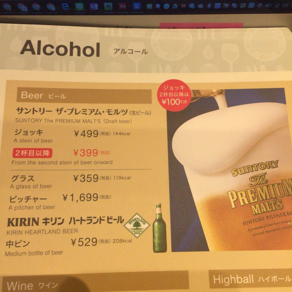 アルコールメニュー