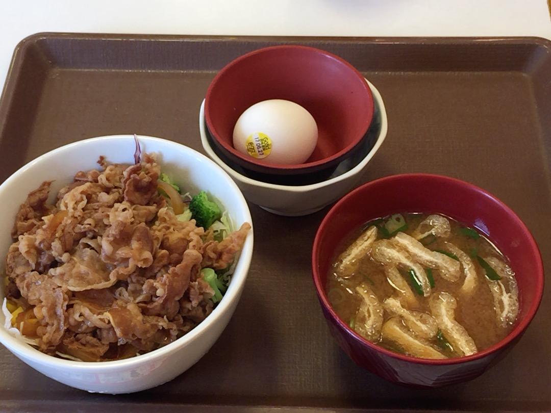 牛丼ライト並430円 おんたま60円 味噌汁80円