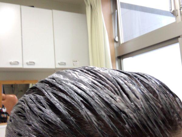 30分放置した白髪染めを塗った髪の毛